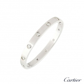 Cartier White Gold Full Diamond Love Bracelet Size 16 B6040716
